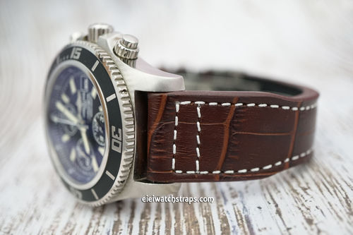 Breitling Superocean Aviator Hand Made 22mm Dark Brown Alligator watch Strap