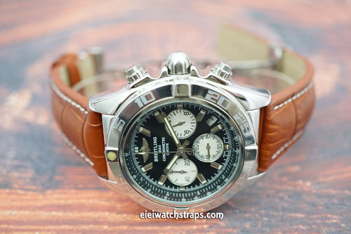 Breitling Professional Matt Brown Alligator Padded Leather Watch Strap Butterfly Development Clasp