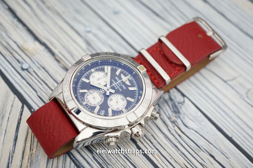 Breitling Professional NATO Red Leather Watch Strap