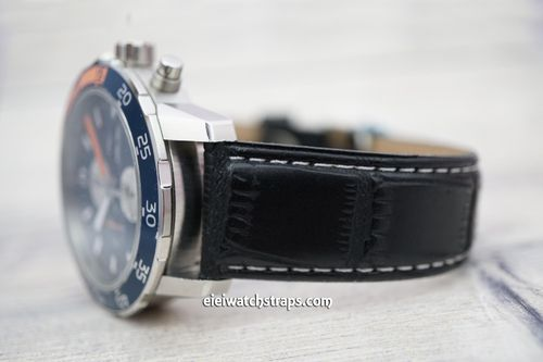 IWC Aquatimer Black Crocodile Leather Watch Strap White STitched