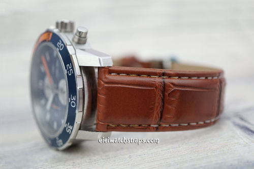 IWC Aquatimer Brown Crocodile Leather Watch Strap White STitched