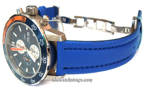 IWC Aquatimer Blue Polyurethane Waterproof Watch Strap on Deployment Clasp
