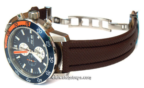 IWC Aquatimer Brown Polyurethane Waterproof Watch Strap on Deployment Clasp