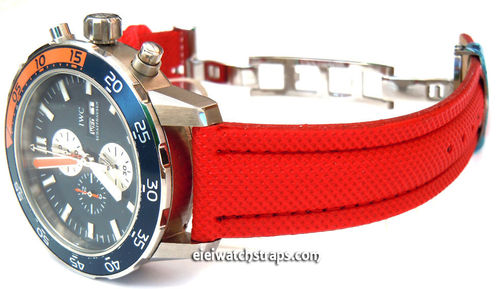 IWC Aquatimer Red Polyurethane Waterproof Watch Strap on Deployment Clasp