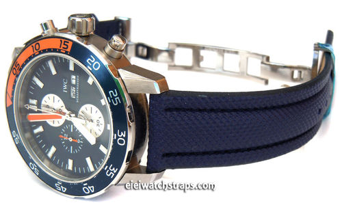 IWC Aquatimer Navy Blue Polyurethane Waterproof Watch Strap on Deployment Clasp