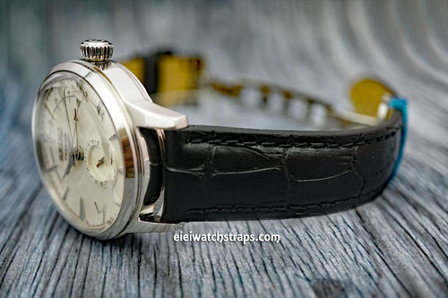 Seiko Cocktail Classic Black Crocodile Grain Leather Watch Strap