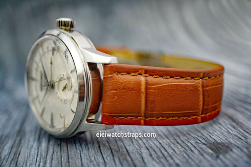 Seiko Cocktail Classic Brown Crocodile Grain Leather Watch Strap