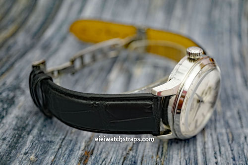 Seiko Cocktail Black Crocodile Watch Strap On Butterfly Deployant Clasp