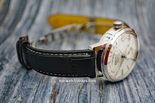 Seiko Cocktail Black Crocodile Watch Strap On Butterfly Deployant Clasp White Stiched