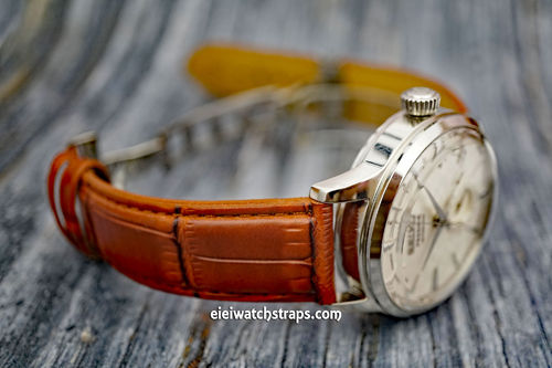 Seiko Cocktail Brown Crocodile Watch Strap On Butterfly Deployant Clasp