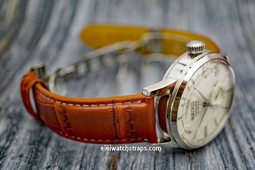 Seiko Cocktail Brown Crocodile Watch Strap On Butterfly Deployant Clasp White Stiched