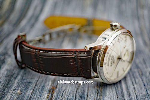Seiko Cocktail Dark Brown Crocodile Watch Strap On Butterfly Deployant Clasp White Stiched