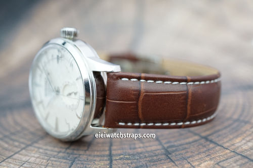 Seiko Cocktail 20mm Classic Brown Crocodile Grain Leather Watch Strap