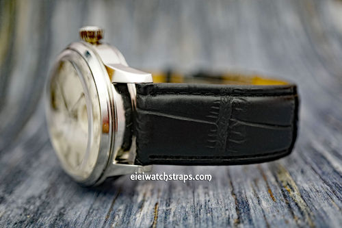 Seiko Cocktail Black Crocodile Watch Strap