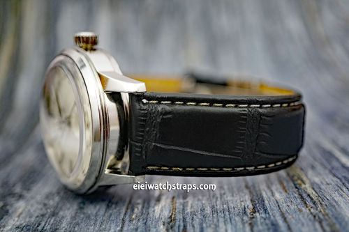 Seiko Cocktail Black Crocodile Watch Strap White Stitched