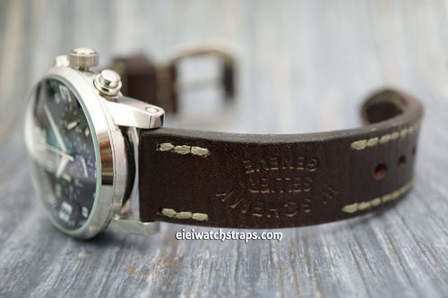 Montblanc Geneva Hand Made Vintage style Ammo Leather Watch Strap