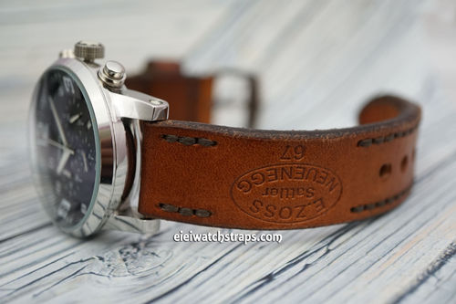 Montblanc Zoss Hand Made Vintage style Ammo Leather Watch Strap