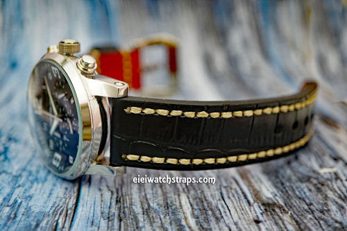 Montblanc Handmade Black Alligator Watch Strap White Stitched