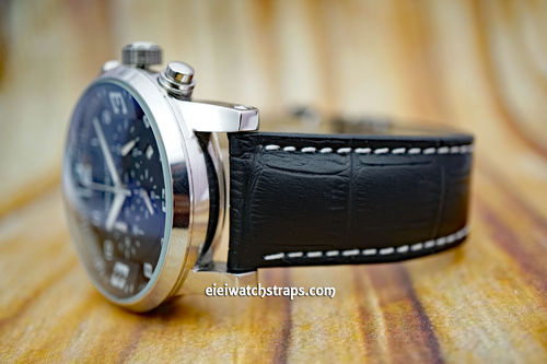 Montblanc Black Alligator Grain Padded Leather Watch Strap