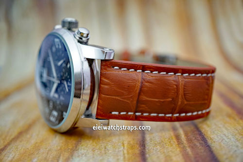 Montblanc Brown Alligator Grain Padded Leather Watch Strap