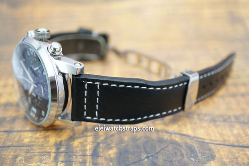 Montblanc Aviator Black Leather Watch Strap On Deployment Clasp