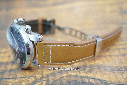 Montblanc Aviator Tan Leather Watch Strap On Deployment Clasp