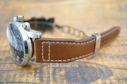 Montblanc Aviator Brown Leather Watch Strap On Deployment Clasp