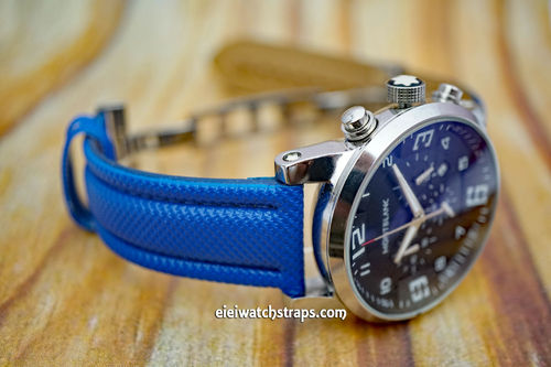 Montblanc Blue Polyurethane Waterproof Watch Strap On Deployment Clasp