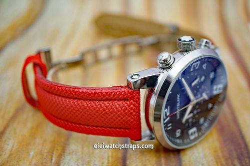 Montblanc Red Polyurethane Waterproof Watch Strap On Deployment Clasp
