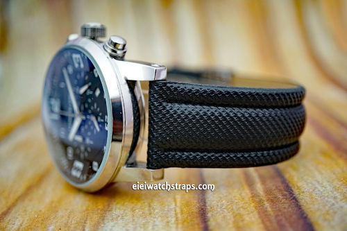 Montblanc Black Polyurethane Waterproof Watch Strap