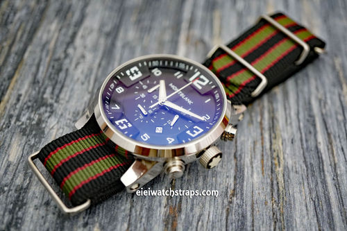 Montblanc James Bond Nylon NATO Watch Strap Dark Blue With Dark Red and Dark Olive Stripes