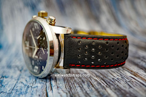 Montblanc Montblanc Rally Perforated Stitched Red Leather Watch Strap