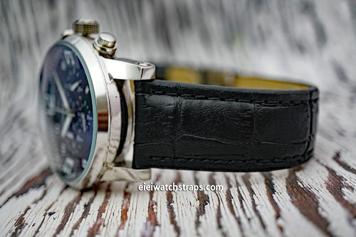 Montblanc Classic Black Crocodile Grain Leather Watch Strap