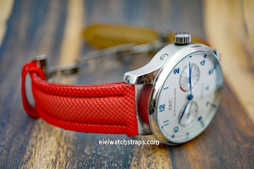 IWC Portuguese Red Polyurethane Waterproof Watch Strap On Deployment Clasp