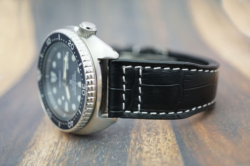Seiko Turtle Aviator Hand Made 22mm Black Alligator Watch Strap