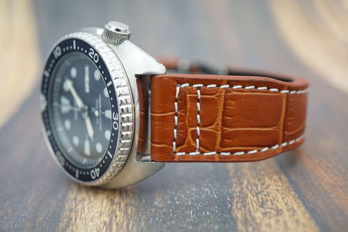Seiko Turtle Aviator Hand Made 22mm Brown Alligator Watch Strap
