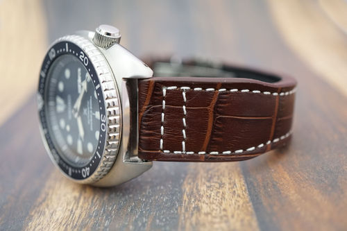 Seiko Turtle Aviator Hand Made 22mm Dark Brown Alligator Watch Strap