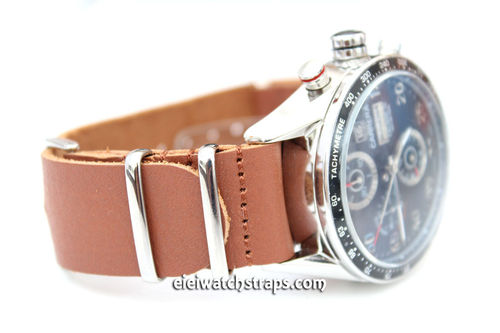TAG Heuer CARRERA NATO Genuine Brown Leather Watch Strap
