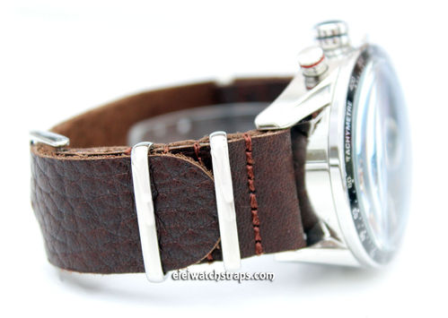 TAG Heuer CARRERA NATO Genuine Coffee Brown Leather Watch Strap