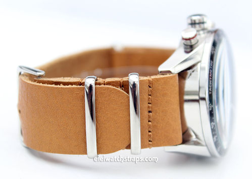 TAG Heuer CARRERA NATO Genuine Tan Brown Leather Watch Strap