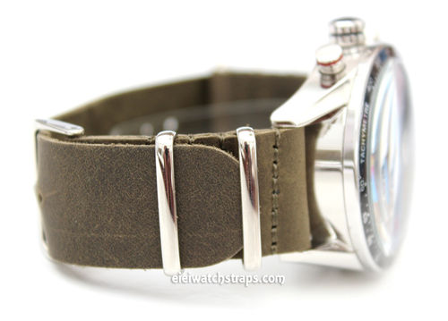 TAG Heuer CARRERA NATO Green Leather watch strap