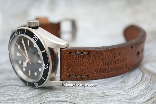 Tudor Black Bay Brooklands Hand Made Vintage Ammo Leather Watch Strap