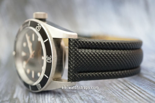 Tudor Black Bay Black Polyurethane Waterproof Watch Strap