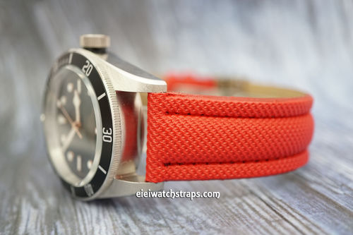 Tudor Black Bay Red Polyurethane Waterproof Watch Strap
