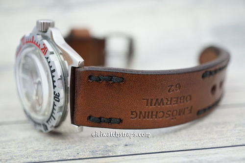 Vostok Amphibian Brooklands Hand Made Vintage Style Ammo Leather Watch Strap
