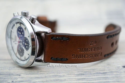 Zenith El Primero Brooklands Hand Made Vintage Ammo Leather Watch Strap