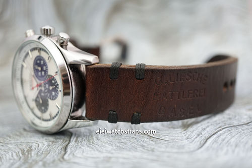 Zenith El Primero BaselHand Made Vintage Ammo Leather Watch Strap