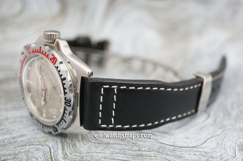 Vostok Amphibian Aviator Hand Made 22mm Black Leather Watch Strap on Deployment Clasp