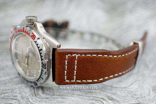 Aviator Hand Made 22mm Brown Leather Watch Strap On Deployment Clasp