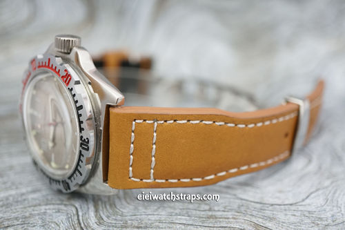 Aviator Hand Made 22mm Tan Leather Watch Strap On Deployment Clasp